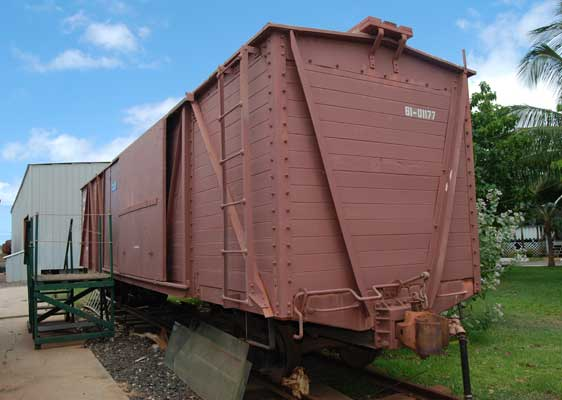 Image of red freight car